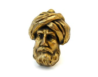 Vintage JOSEFF Bearded Man Wearing Turban Brooch, People Face Figural Pin, Signed Costume Jewelry