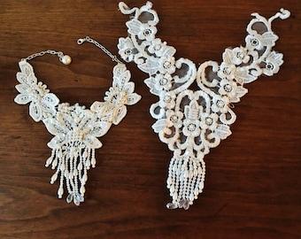 Vintage Bridal Maid Of Honer Wedding 2 Necklace Choker Collar Bib Waterfall AB Sequins Handmade Chandelier Pearls Victorian Lace  Bead