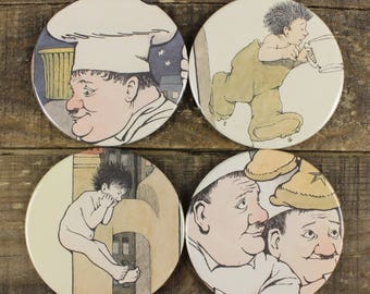 In the Night Kitchen Maurice Sendak Kid's Book Coaster Set of Four Coasters Vintage Recycled