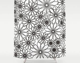 Black white flowers shower curtain,bath curtain,floral curtain,simple minimalist shower curtain,modern bathroom decor,unique bath decor