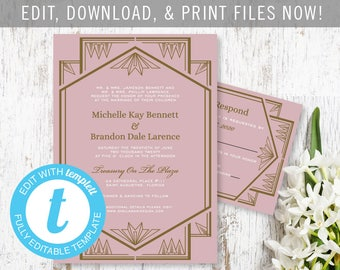 DIY Gold and Blush Pink Art Deco Wedding Invitation and Response Card for Vintage Wedding - Customize and Print Your Own Files