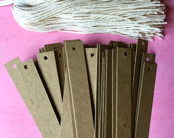 """Kraft Tags (100) . Lightweight Chipboard Blank Tags with Twine Ties .5"""" x 3.25"""" Product Tags Price Tags Etsy Seller Supplies Shop Supply"""
