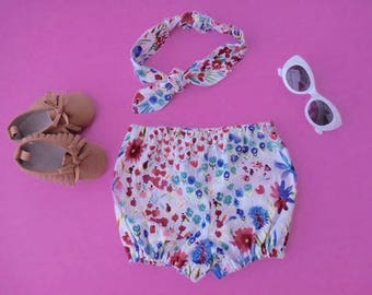Beautiful colorful floral spring summer flowers diaper cover bloomers with matching top knot headband