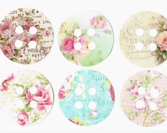 Stickers, Vintage Style, Flowers, Spool Stickers, Floral Spool Stickers, Set of 18