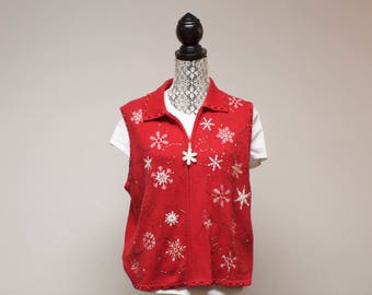 Vintage Women's Vest - Pretty or Ugly zippered Christmas vest with Snowflakes size by Studio Joy