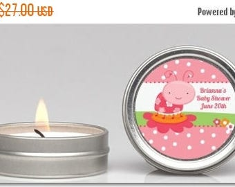 Sale Modern Ladybug Pink Baby Shower Candle Tin Favor (Set of 12) - Party Themed Small Celebration Candle in Personalized Round Tin Containe