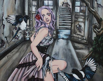 sorrow steampunk art print lowbrow magpie painting