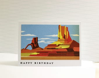 Birthday Card,  Vintage Travel Birthday Card, Monument Valley Birthday Card, 1950's Inspired Birthday Card, Vintage Arizona Birthday Card