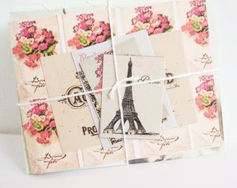 2 Handmade Books. French Gift Tags. Notebooks. Journals. Floral Style. French Style. Victorian French Tags. Handmade Book. Gift Tags.