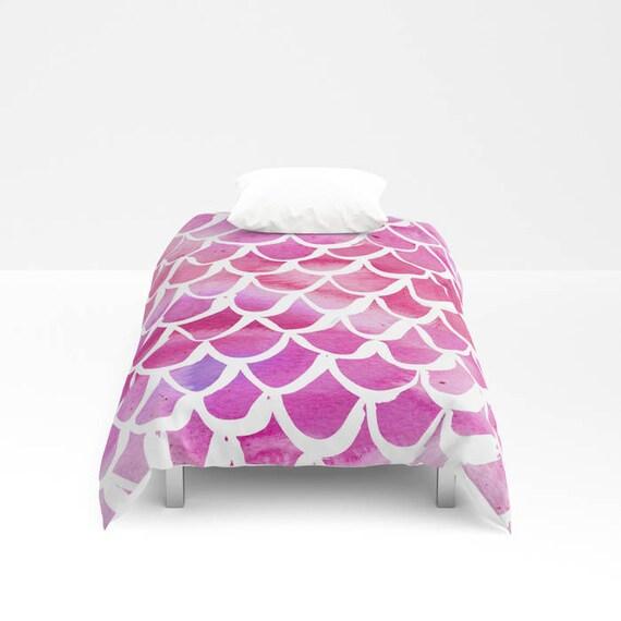 Mermaid Duvet cover - Pink Watercolor Duvet cover - Mermaid bedding - Twin XL duvet - queen duvet cover - king duvet cover - Twin full duvet