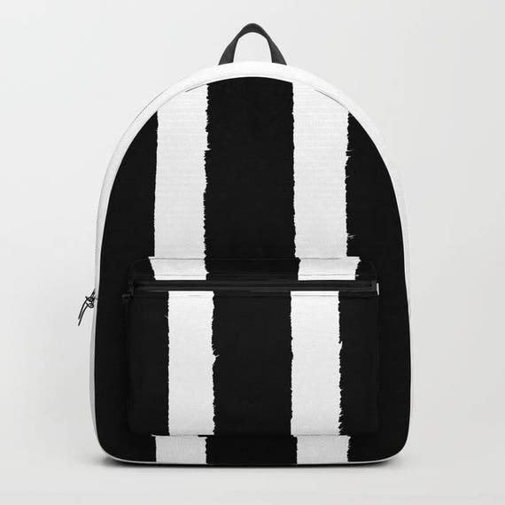 Black and White Stripe Backpack bookbag Black backpack Black White bookbag Kids backpack backpack Modern school bag Striped backpack