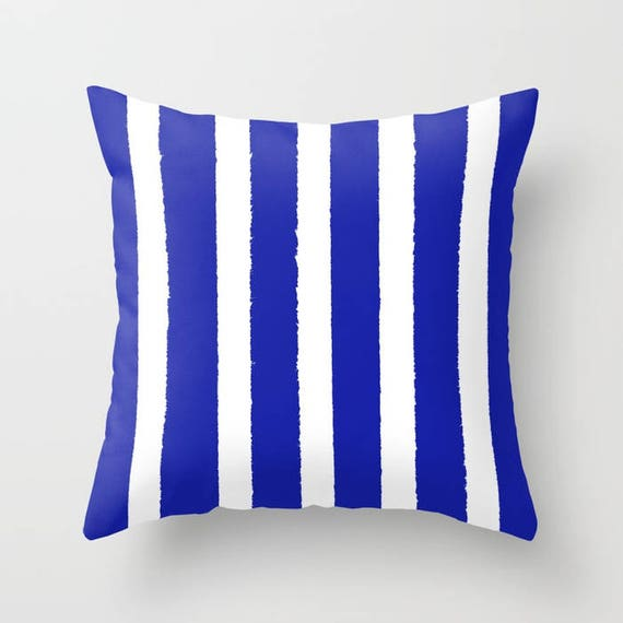 OUTDOOR Throw Pillow - Blue and White Outdoor Pillow - Stripe patio cushion - Modern Azure Pillow - 16 18 20 inch - Cobalt Outside Pillow