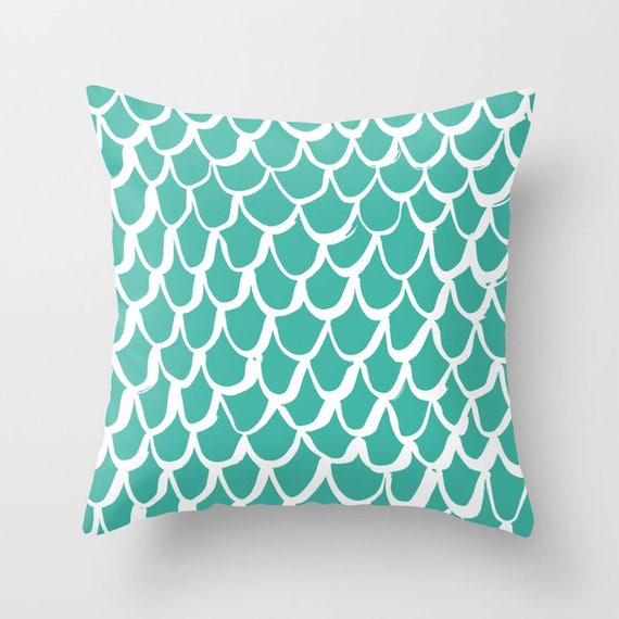 Turquoise Mermaid Throw Pillow . Turquoise and White Pillow . Turquoise Cushion . Cotton Mermaid Pillow . Mermaid Cushion 14 16 18 20 inch