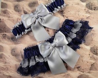 Wedding Garter Belt Toss Set Navy Blue Gray Lace Navy Gray Satin Brides Ready To Ship Wedding Toss Set