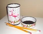 Cute Pink Flamingo Desk Accessories / Black and White Polka Dot Pencil Holder Pencil Cup / Desk Organizer / Makeup Brush Holder   1121