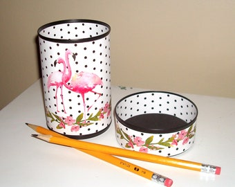 Cute Pink Flamingo Desk Accessories / Black and White Polka Dot Pencil Holder Pencil Cup / Desk Organizer / Makeup Brush Holder   1088