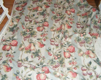 Fruit Apples Grapes Pears Plums Harvest Kitchen Fabric French Country sewing supply Price for Full 2 1/2 yard piece 56 inches wide SCT