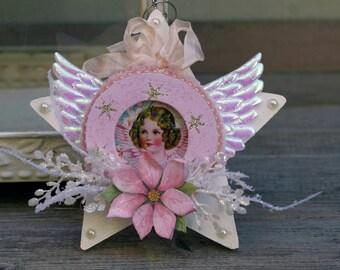 Shabby Chic Cherub Angel Ornament