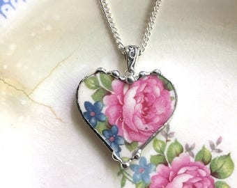 Broken china jewelry -  heart pendant necklace - broken china jewelry antique rose chintz pink rose blue forget me nots