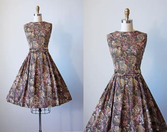 50s Dress - Vintage 1950s Dress - Tawny Pink Rose Print Full Skirt Cotton Sundress w Bow Belt L - Sweetie Dress