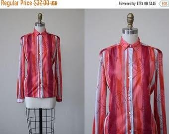 ON SALE 1970s Top - Vintage 70s Vera Neuman Jersey Novelty Print Blouse S M - Autumn Leaf Shirt
