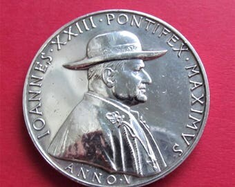 Pope John XXIII Anno V Silver Vatican Religious Medal Loreto Assisi Pilgrimage 1962   SS87