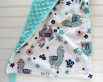 Pink and Aqua Llamas Baby Girl Minky Lovey, Minky Security Blanket, Baby Girl Lovey, Llama Baby Gift, Llama Nursery, Llama Blanket