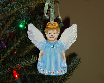 Hand painted Christmas Ornament. Personalized little Angel decoration. Free U.S. shipping