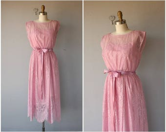 1970s Dress   70s Dress   Pink Lace Dress   1970s Midi Dress   70s Bohemian Dress ? 70s party Dress   1970s Cocktail Dress - (small)