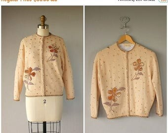 48 HR FLASH SALE 1950s Beaded Cardigan | 50s Beaded Wool Cardigan | Beaded Sweater | 50s Wool Sweater | Holiday Sweater
