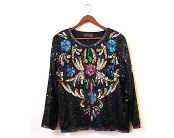 30% OFF Vintage 80s Evening Glam Silk Sequined and Beaded Floral Art Deco Top s m l