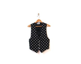 30% OFF Vintage 80s Black Polka Dot Button Up Vest women small medium boho preppy indie hipster fashionista