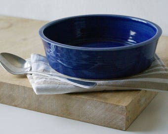 Shallow serving dish - wheel thrown stoneware bowl in ocean blue