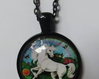 Unicorn and rainbows disc on black chain