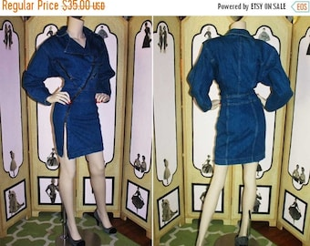 ON SALE Vintage 1980's Denim Zipper Dress from Nina Piccalino. Small