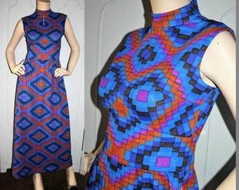 Vintage 60's Geometric Keyhole Maxi Dress by Bleeker Street. Small