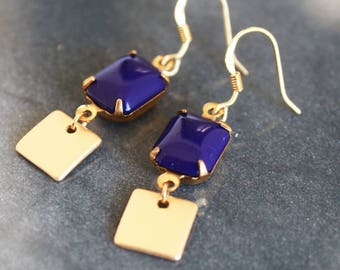 vintage blue earrings- elegant earrings with gold accents and blue glass charm