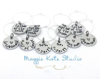 Wedding Party Hand Stamped Wine Glass Charm Tags, Bride, Groom, Best Man, Bridesmaid, Usher, Best Man, Maid of Honor, Favors