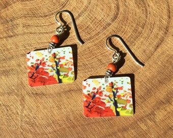 Repurposed Starbucks gift card Fall earrings