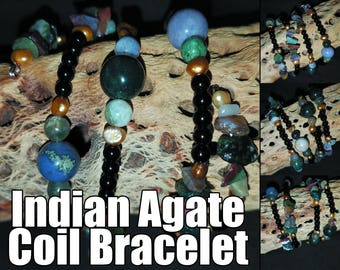 Indian Agate and Freshwater Pearl Coil Bracelet