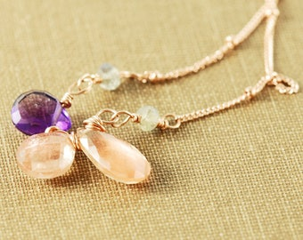 Sunstone Amethyst Rose Gold Gemstone Cluster Necklace, Peach Purple Gemstone Statement Necklace