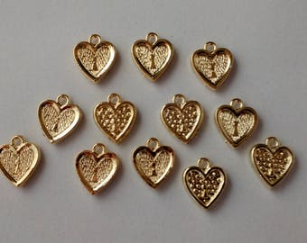 Heart Charms- Vintage Heart Findings- Heart Pendants- Vintage Component- Gold Plated Acrylic- Valentines- Set Of 12