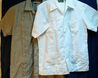 Vintage Guayabera Shirts Centenario Haband Embroidered Large Size