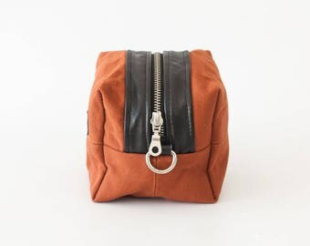 Makeup case burnt orange, cosmetic bag in cotton canvas and black leather utility bag toiletry case  pouch - Cube