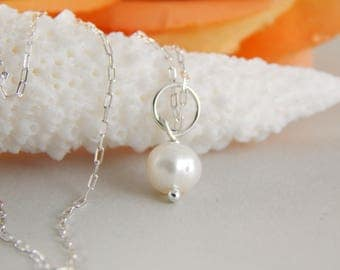 Sterling Silver 18 inch Charm Necklace ~ add a charm ~ add a dangle ~ Pearl Charm Necklace ~ AdoniaJewelry