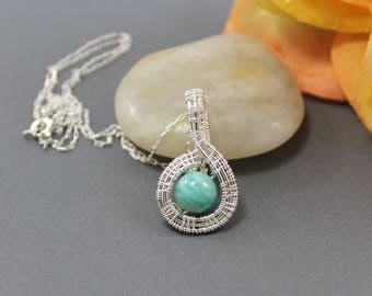 Russian Amazonite Wire Wrapped Pendant ~ Sterling Silver Pendant ~ Blue Stone Pendant ~ Adonia Jewelry