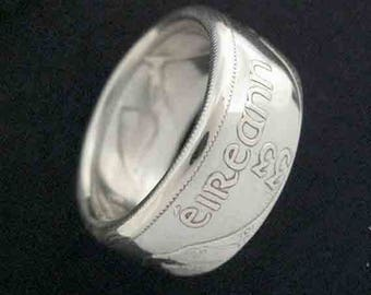 Hand Forged Double Sided Silver (75%) Coin Ring - Ireland Half Crown - Irish Free State