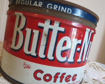 Vintage BUTTERNUT Coffee Tin Can