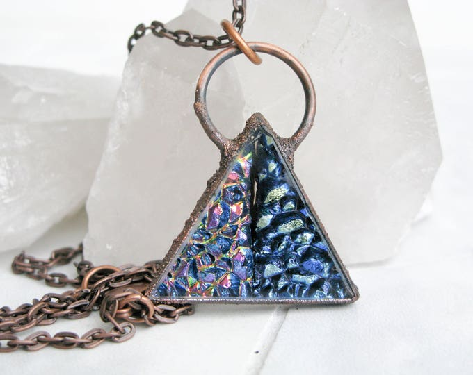 Large Glass Pendant Statement necklace triangle Electroformed Copper Necklace Goddess necklace Fused Glass Pendant Modern Jewelry