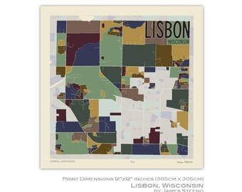 Lisbon, Wisconsin Art Map Print by James Steeno